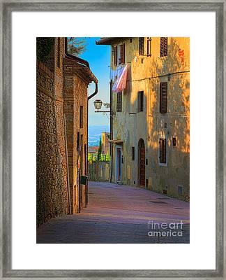 San Gimignano Alley Framed Print by Inge Johnsson