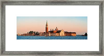 Framed Print featuring the photograph San Giorgio Maggiore Church Sunrise Panorama by Songquan Deng