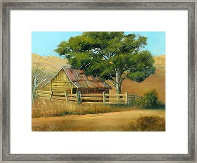 San Joaquin Barn Framed Print by Sally Seago