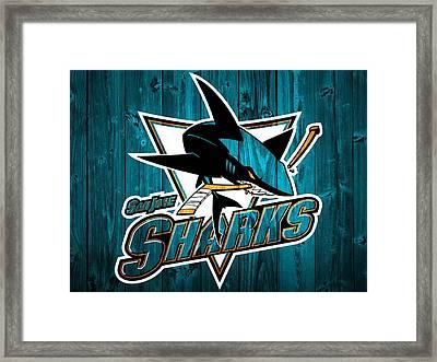 San Jose Sharks Barn Door Framed Print