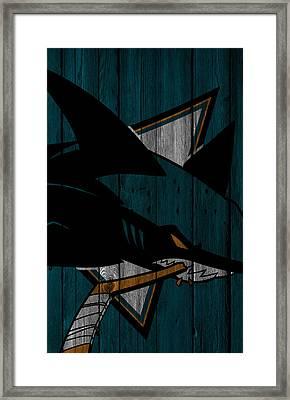San Jose Sharks Wood Fence Framed Print by Joe Hamilton