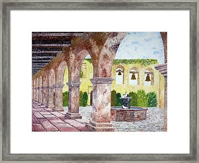 San Juan Capistrano Courtyard Framed Print by Laura Iverson