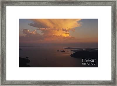 San Juan Islands Aerial Thunderstorm Framed Print by Mike Reid