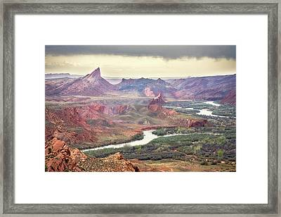 San Juan River And Mule's Ear Framed Print