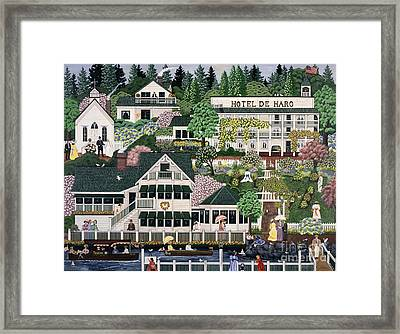 Framed Print featuring the painting San Juan Roche Harbor Resort by Jennifer Lake