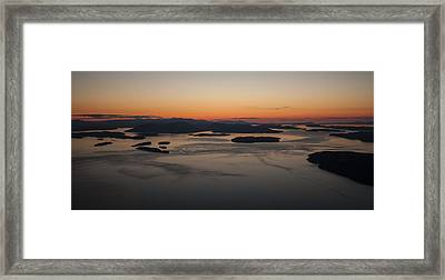 San Juans Islands Aerial Sunset Calm Dusk Framed Print by Mike Reid