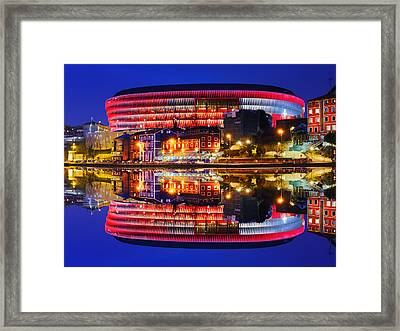 San Mames Stadium At Night With Water Reflections Framed Print