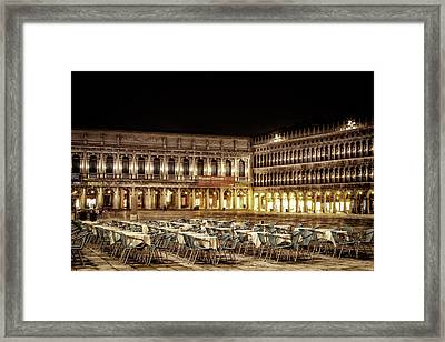 San Marco Cafes At Night Framed Print