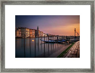 San Marco Campanile With Gondolas At Grand Canal During Calm Sunrise, Venice, Italy, Europe. Framed Print