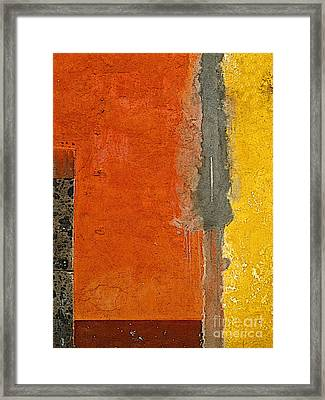 San Miguel Abstract In Ochre And Orange Framed Print