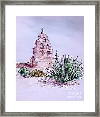 San Miguel Mission, Bell Tower Framed Print by Danuta Bennett
