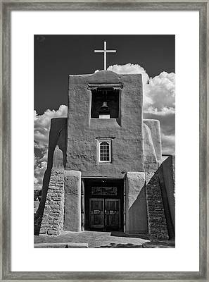 San Miguel Mission Black And White Framed Print