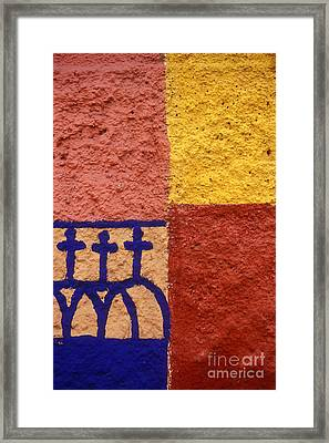 Framed Print featuring the photograph San Miguel Wall San Miguel De Allende Mexico by John  Mitchell