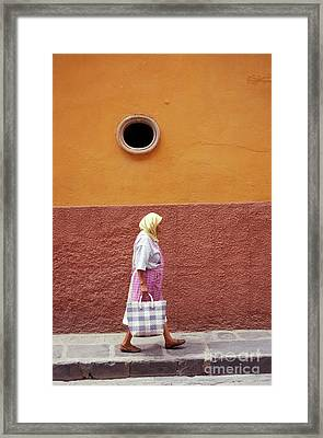 Framed Print featuring the photograph San Miguel Woman San Miguel De Allende Mexico by John  Mitchell