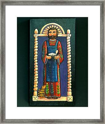 San Pascual Wood Carving Framed Print