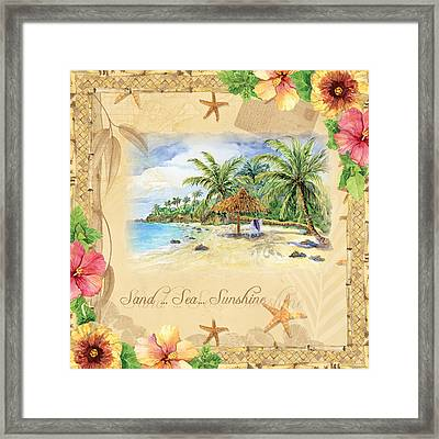 Sand Sea Sunshine On Tropical Beach Shores Framed Print