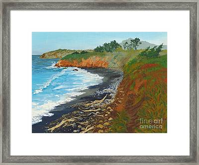 Framed Print featuring the painting San Simeon Ca Coast by Katherine Young-Beck