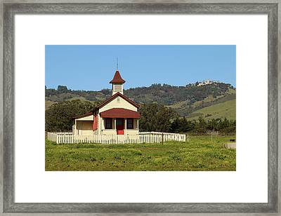 Framed Print featuring the photograph San Simeon - Castle And Schoolhouse by Art Block Collections