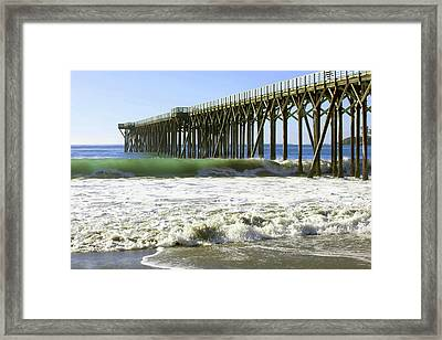 Framed Print featuring the photograph San Simeon Pier by Art Block Collections