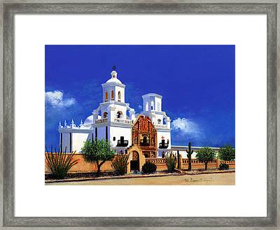 Framed Print featuring the painting San Xavier Del Bac Mission by M Diane Bonaparte