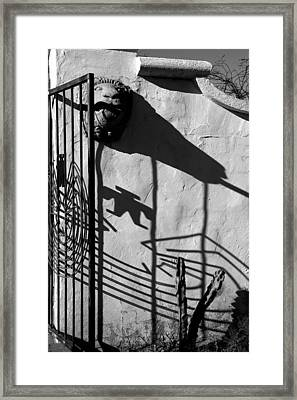 San Xavier Gate Shadow With Cactus 2 Bw Framed Print by Mary Bedy