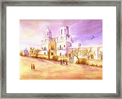 Framed Print featuring the painting San Xavier by Judy Filarecki