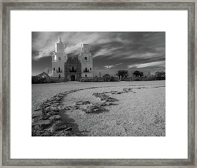 San Xavier Mission Clouds Framed Print
