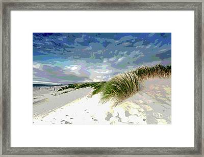 Sand And Surfing Framed Print