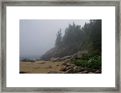 Sand Beach In A Fog Framed Print