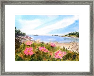 Sand Beach Roses Framed Print