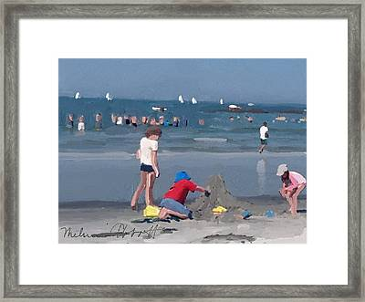 Sand Castle And Sailboats At Wingaersheek Beach Framed Print