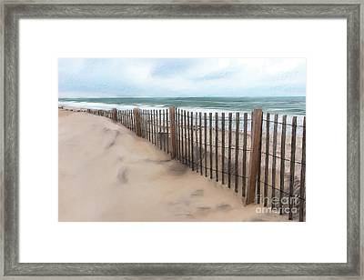 Sand Dune Fence On Outer Banks Ap Framed Print