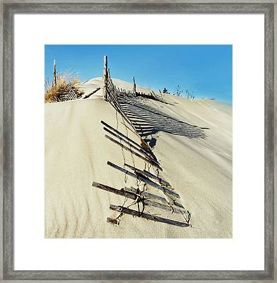 Sand Dune Fences And Shadows Framed Print