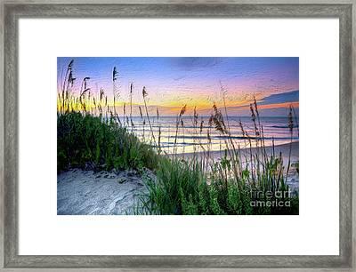 Sand Dune Sunrise On The Outer Banks Ap Framed Print by Dan Carmichael