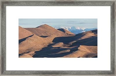 Sand Dunes And Rocky Mountains Panorama Framed Print by James BO Insogna