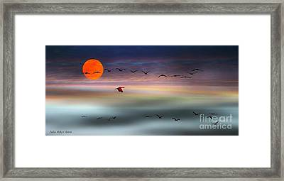 Sand Hill Cranes At Moonrise Framed Print by Julie Dant