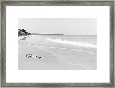 Sand Meets The Sea In Black And White Framed Print