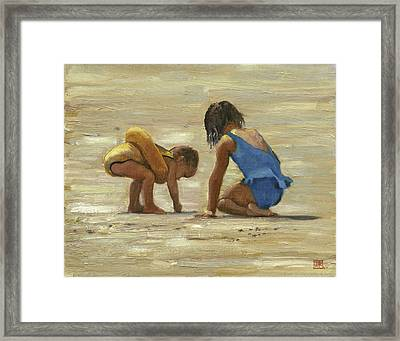 Framed Print featuring the painting Sand Play by John Reynolds