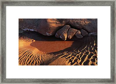 Sand Puddle Framed Print by Jerry LoFaro