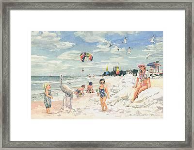 Sand Sculpture On Siesta Public Beach Framed Print