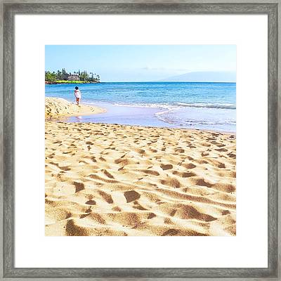 Sand Sea And Shadows Framed Print