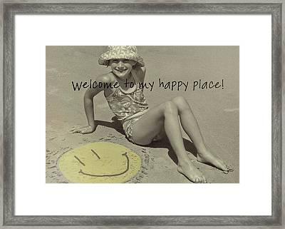 Sand Smile Quote Framed Print by JAMART Photography