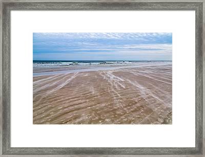 Sand Swirls On The Beach Framed Print by John M Bailey