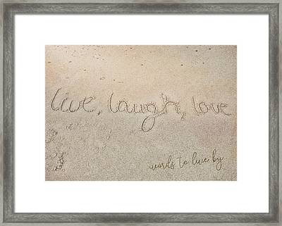 Sand Texting Quote Framed Print by JAMART Photography