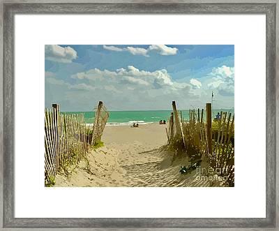 Sand Track To The Beach Framed Print