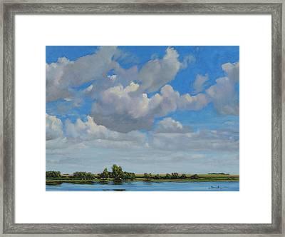 Sandbar Slough July Skies Framed Print
