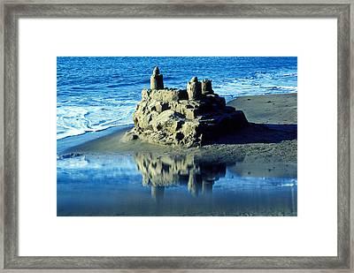 Sandcastle On Beach Framed Print by Garry Gay