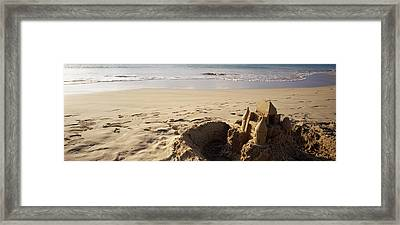Sandcastle On The Beach, Hapuna Beach Framed Print by Panoramic Images
