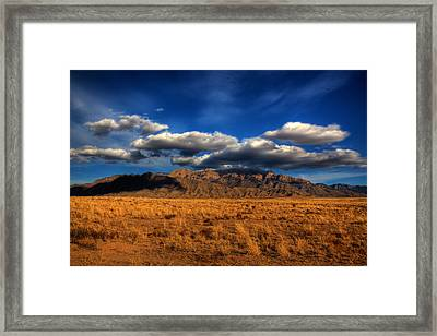 Sandia Crest In Late Afternoon Light Framed Print by Alan Vance Ley