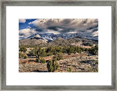 Framed Print featuring the photograph Sandia Mountain Landscape by Alan Toepfer